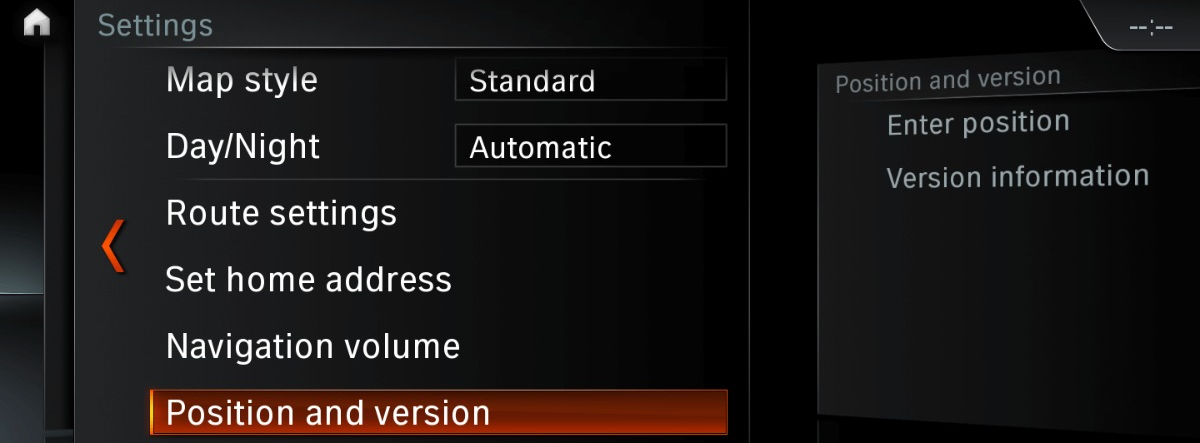 BMW navigation position and version